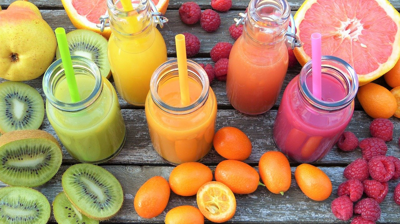 smoothies, fruits, colorful